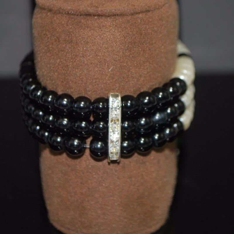 Black and White Colorblock Bracelets - Handmade