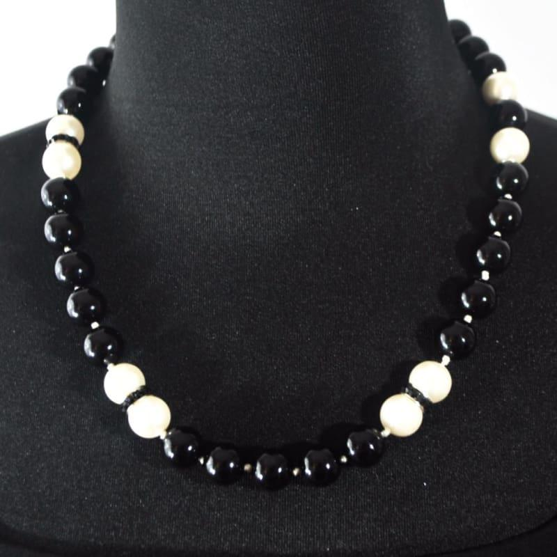 Black and White Glass Pearls Beaded Necklace - TeresaCollections