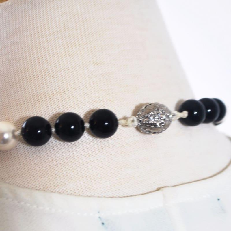 Black and White Glass Pearls Beaded Necklace - Handmade