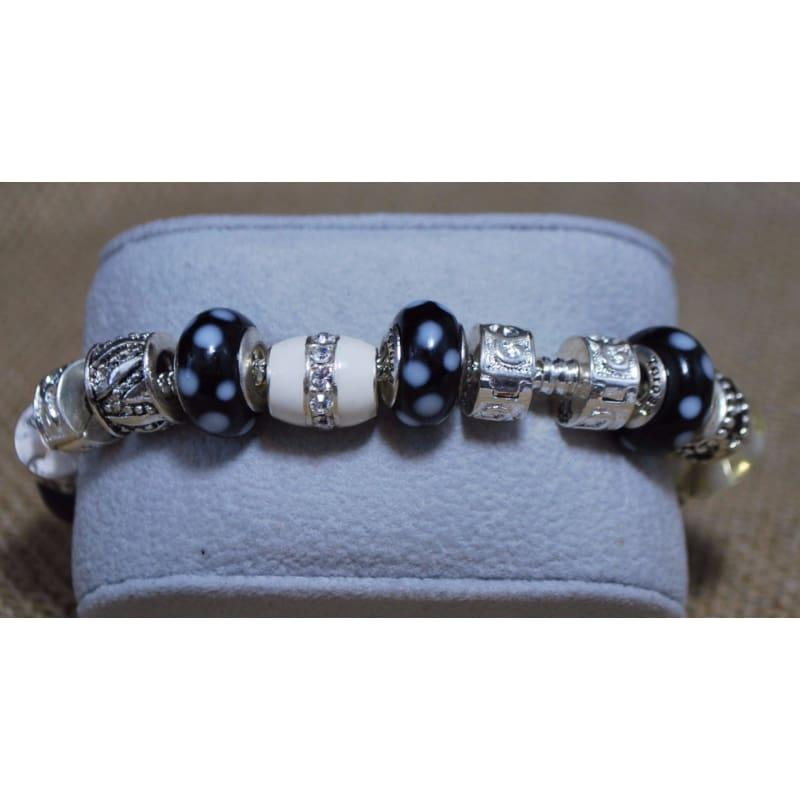 Black and White Pawprint Murano Glass Charm Bracelets - Charm bracelets