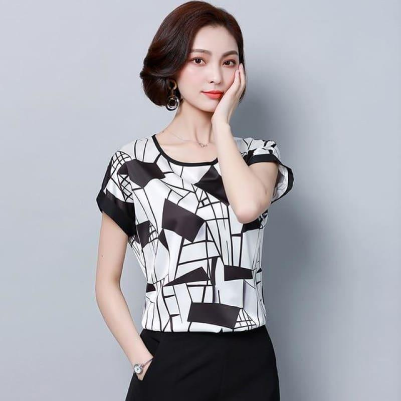 Black and White Stripes Summer Chiffon Loose Blouse - black white plaid / XXL - Sleeveless