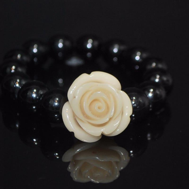 Black Glass With Flower Ascent Bracelets - Handmade