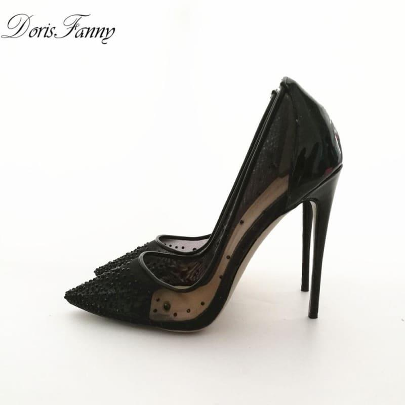 Black High Heels See Through Pointed Toe Pumps - black 12cm / 10 - Pumps