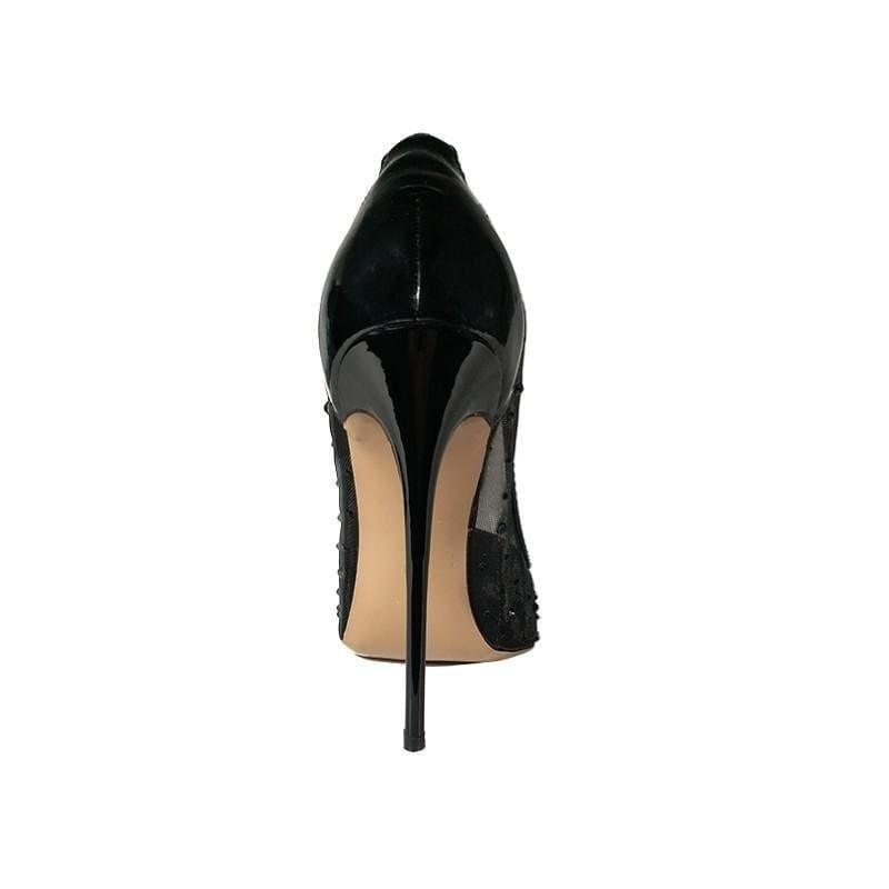Black High Heels See Through Pointed Toe Pumps - TeresaCollections