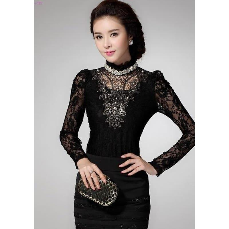 Black Lace Embroidery Sexy Blouse - black / XXXL - Long Sleeve