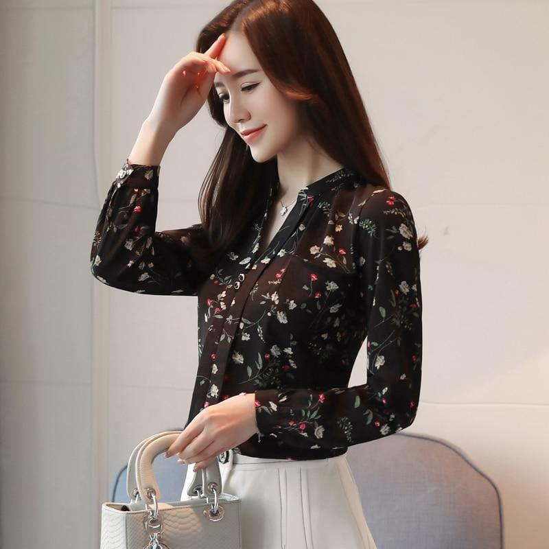 Black Long Sleeve Print Blouse - TeresaCollections