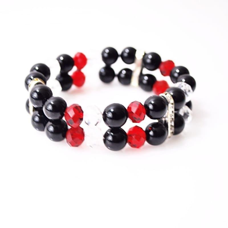 Black Onxy with Red and White Crystal Double Strands Womens Bracelets - Handmade