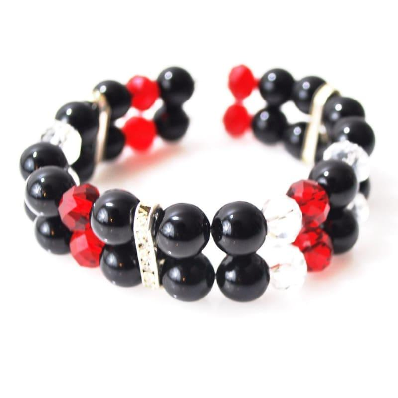 Black Onxy with Red and White Crystal Double Strands Women's Bracelets - TeresaCollections