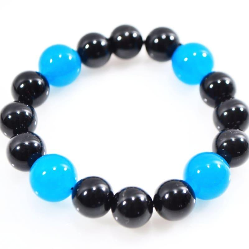 Black Onyx and Blue Topaz Mixed Gemstone Bracelets - TeresaCollections