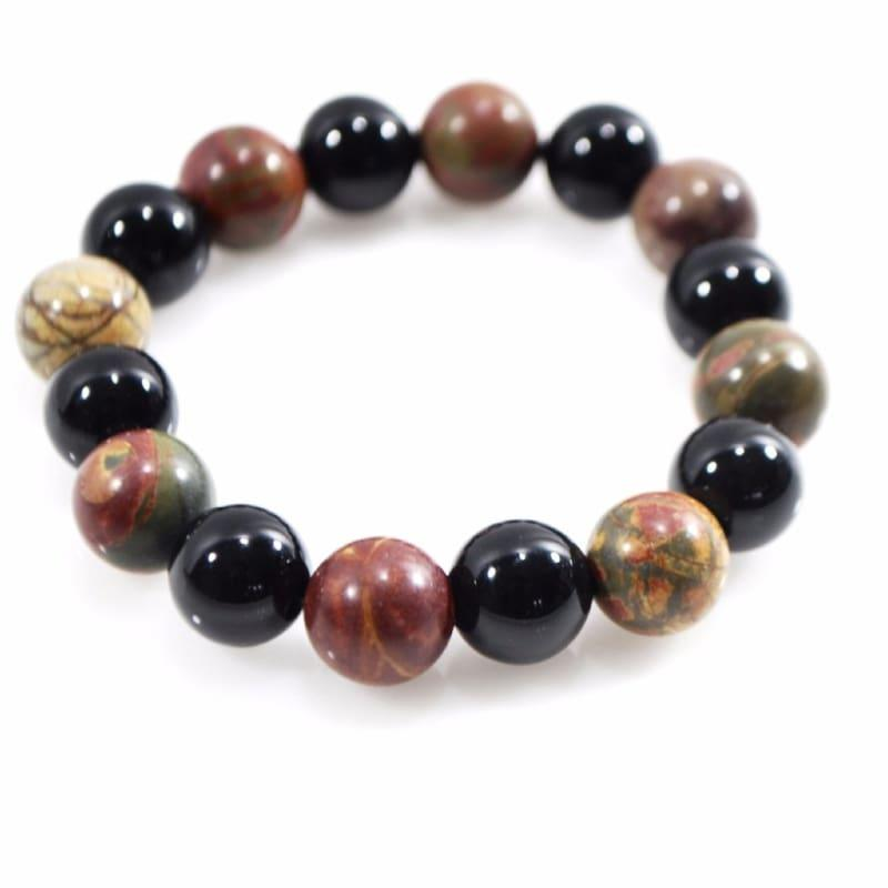 Black Onyx and Picasso Jasper Mixed Gemstone Bracelets - Handmade