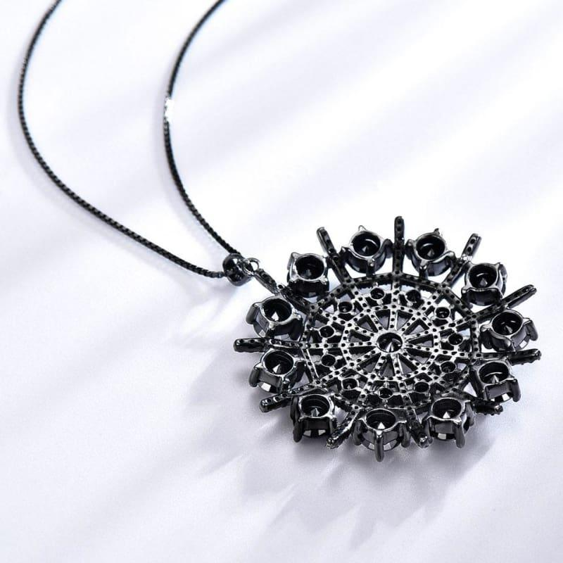 Black Spinel Hyperbole Gemstone Solid 925 Sterling Silver Necklace Pendants - TeresaCollections