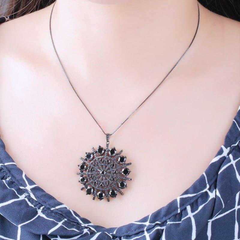 Black Spinel Hyperbole Gemstone Solid 925 Sterling Silver Necklace Pendants - Fine Jewelry