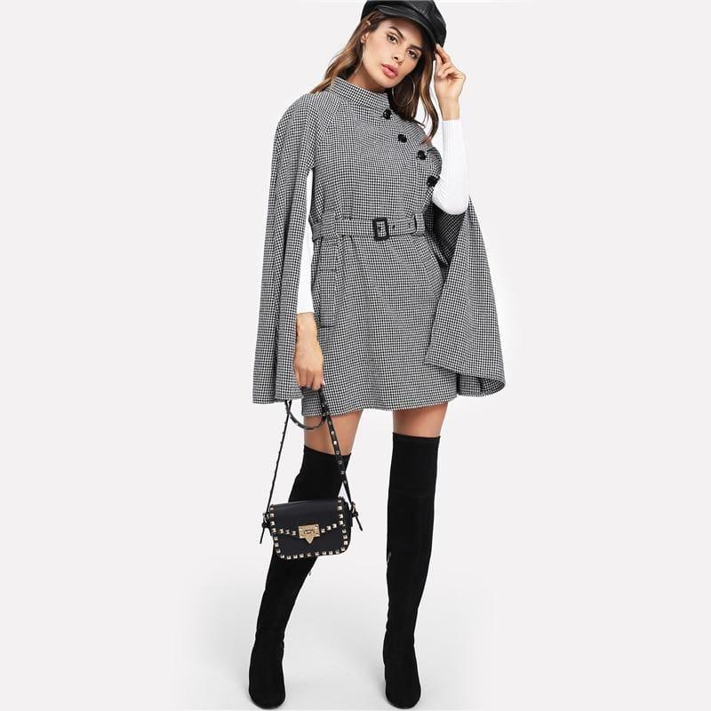Black Vintage Plaid Self Belted Houndstooth Cape Wool Blend Cloak Sleeve Winter Coat - Coats