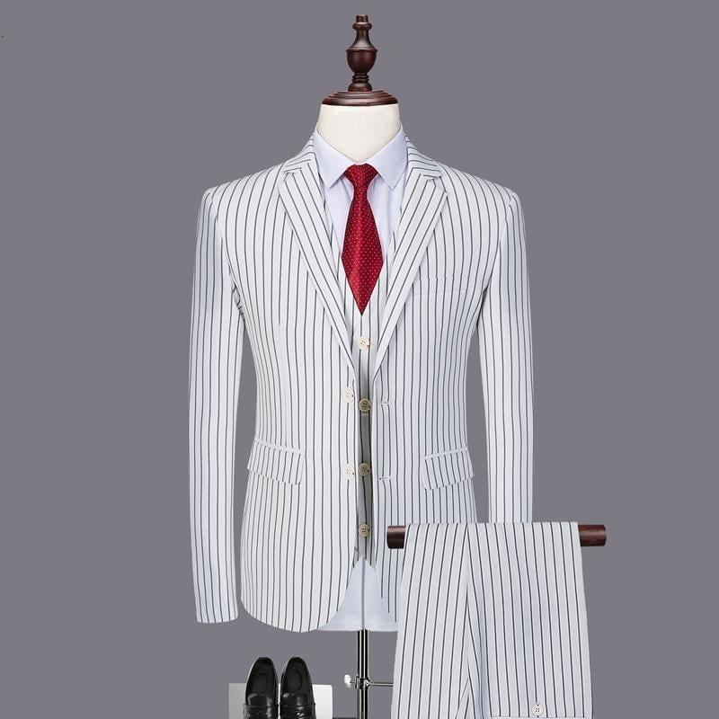 Black White Stripes Men 3 Pieces Mens Suits. - mens suits