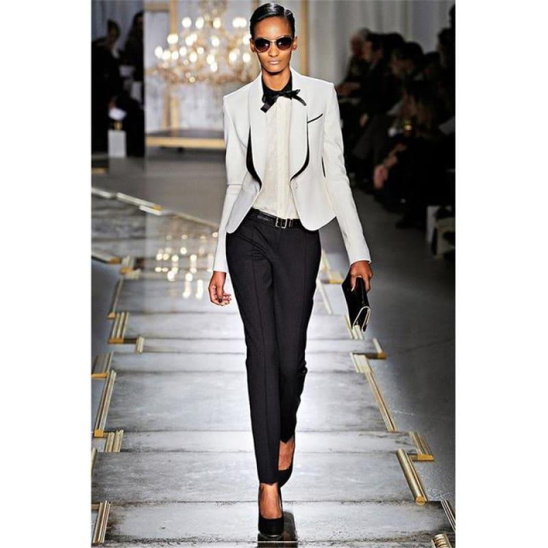 Black White Women Tuxedo Jackets Trouser Suits - Same as Picture / XS - womens suits