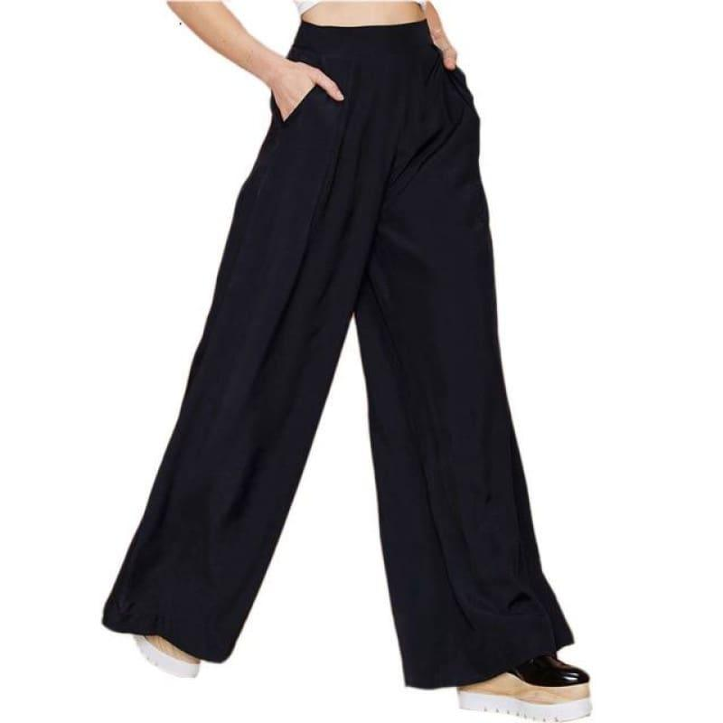 Black Wide Leg Casual Loose Palazzo Trousers High Waist Pants - black / L - Pants