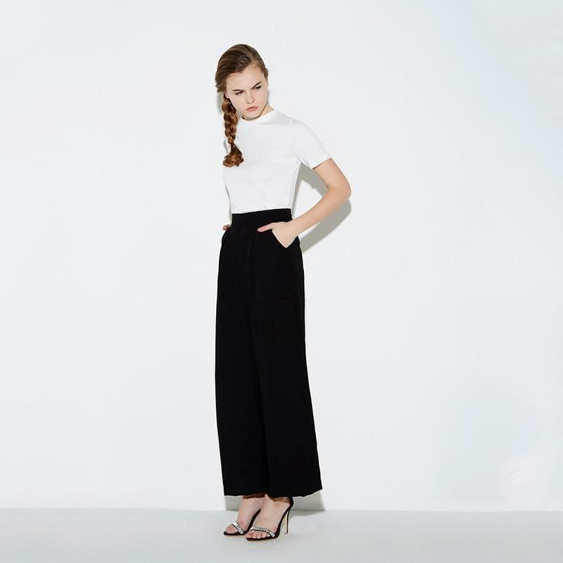 Black Wide Leg Casual Loose Palazzo Trousers High Waist Pants - TeresaCollections