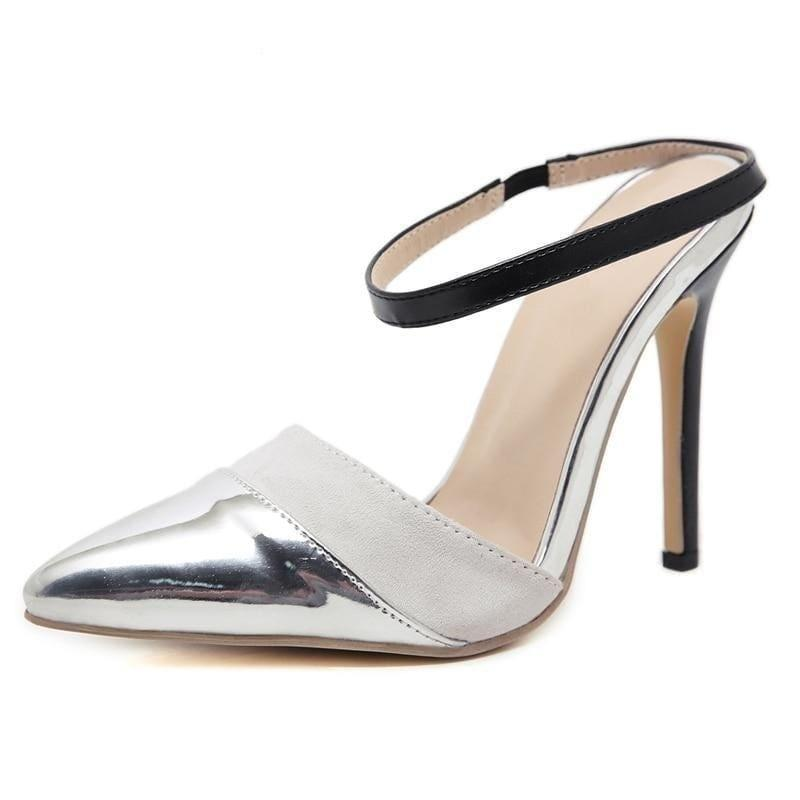 Bling Bling PU Buckle Strap High Heel Cut out Pumps - Silver / 4 - Pumps