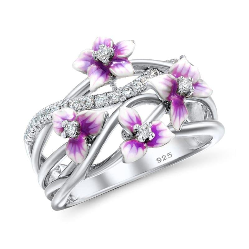 Blooming Flower Dazzling Cubic Zirconia 925 Sterling Silver Fashion Ring - 6 - Ring