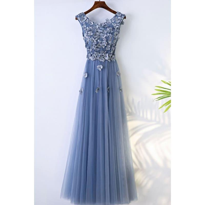Blue Abiye High Quality A-line Prom Dress Scoop Neck Tulle Flowers Evening Dress - Blue / 2 - Gown