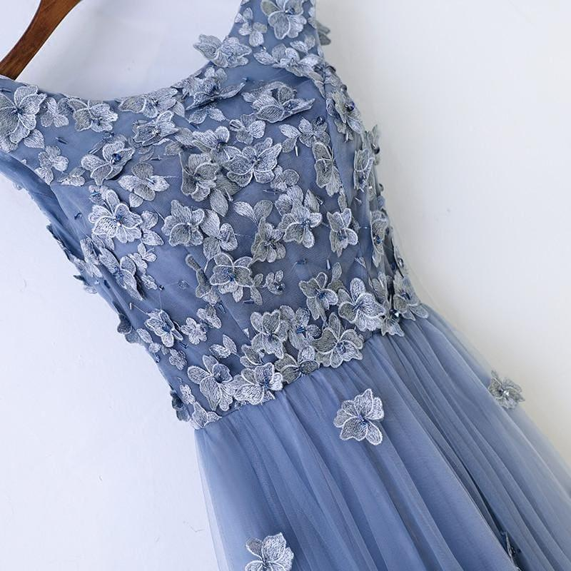 Blue Abiye High Quality A-line Prom Dress Scoop Neck Tulle Flowers Evening Dress - Gown