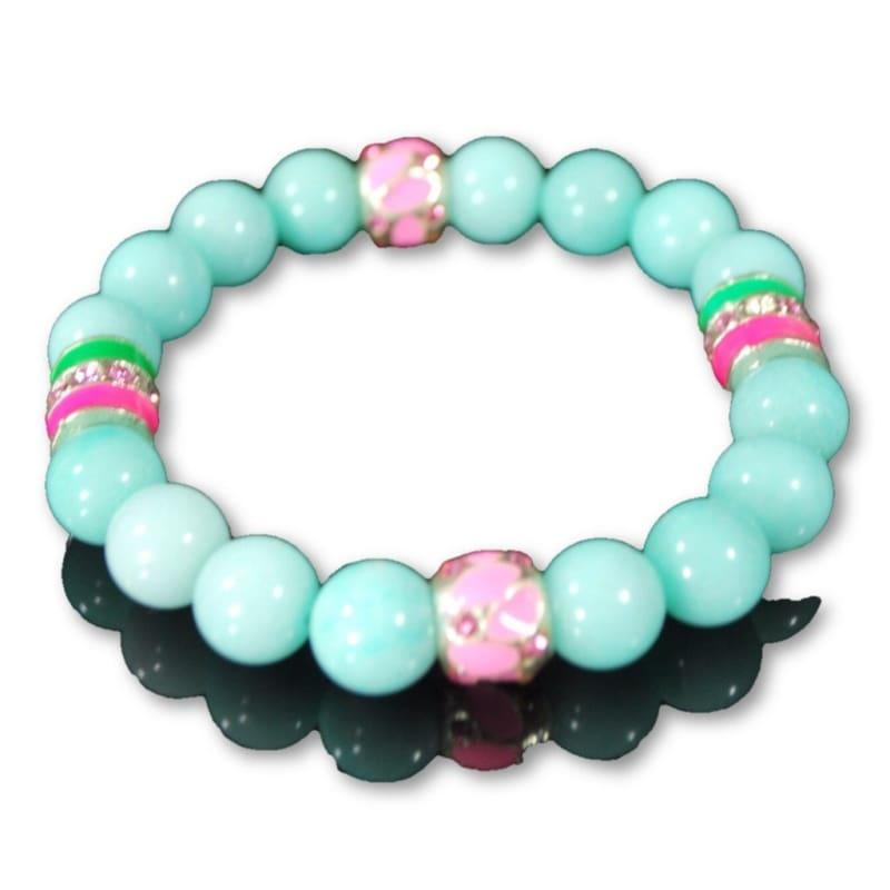 Blue Amazonite Gemstone With Pink And Green Ascent Beaded Bracelets - Handmade