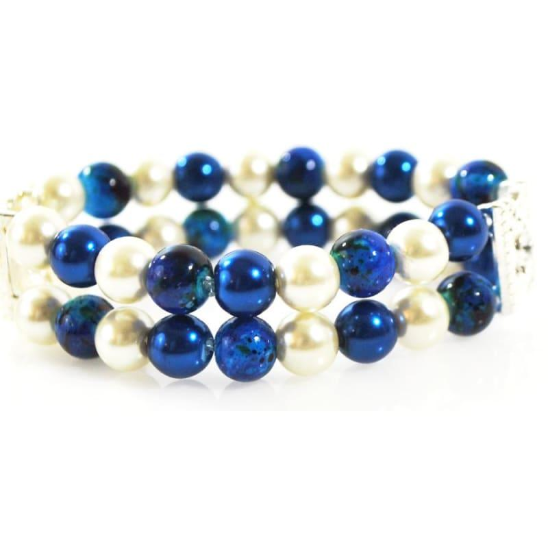 Blue and White Glass Pearl Double Strands Bracelets - TeresaCollections