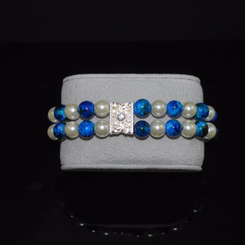 Blue and White Glass Pearl Double Strands Bracelets - Handmade