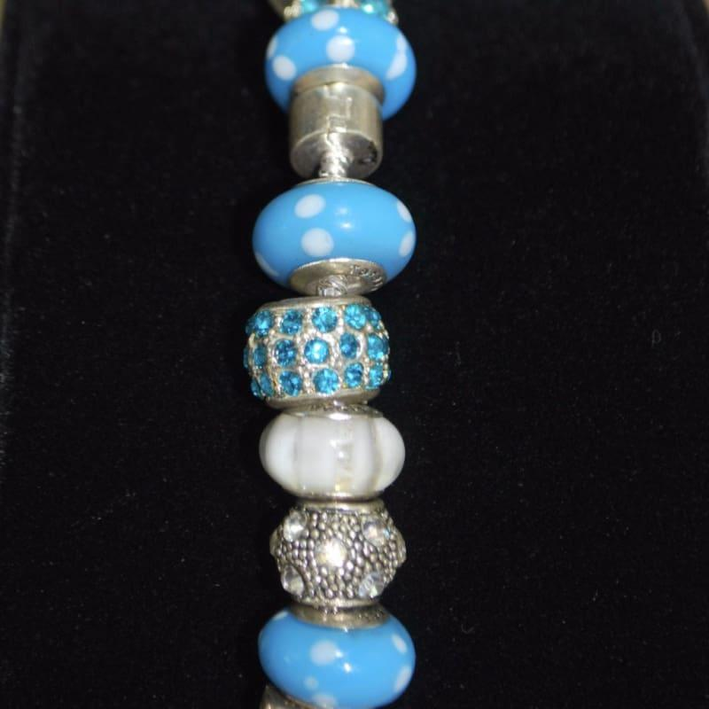 Blue and White Paw Prints Murano Glass Bead Charm Bracelets - TeresaCollections