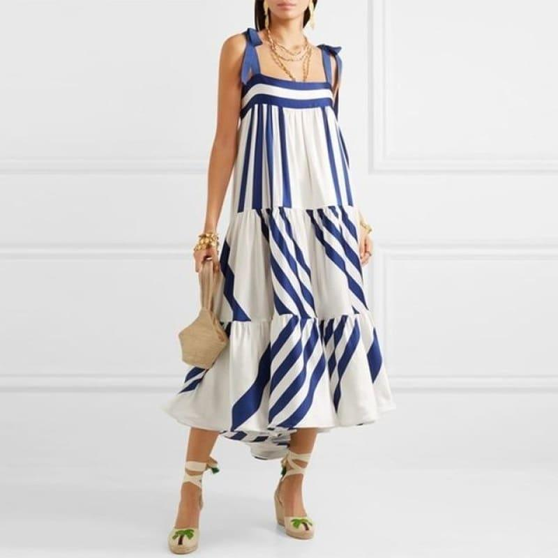 Blue and White Striped Spaghetti Strap Long Back Less Bow Lace Up Maxi Dress - as picture / L - Maxi Dress
