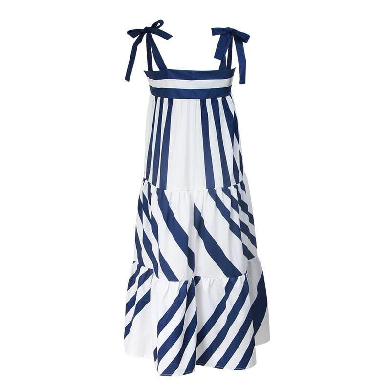 Blue and White Striped Spaghetti Strap Long Back Less Bow Lace Up Maxi Dress - Maxi Dress