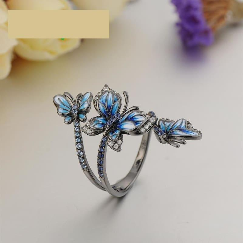 Blue Butterfly Ring Earrings Set 925 Sterling Silver Handmade Enamel Fashion Jewelry Set - jewelry set