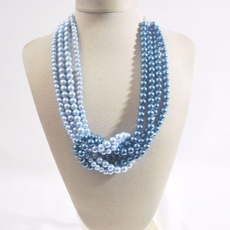 Blue ColorBlock Interlocking Glass Pearls Necklace - Handmade