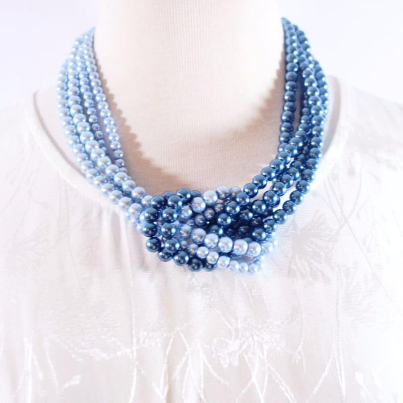 Blue ColorBlock Interlocking Glass Pearls Necklace - TeresaCollections