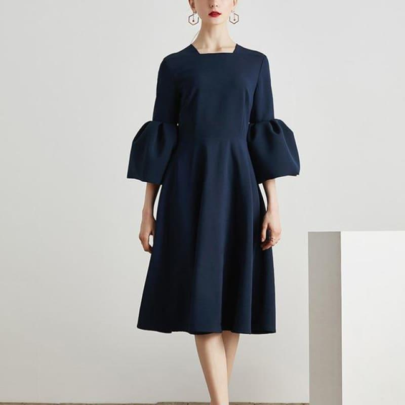 Blue Flare Sleeve Square Collar Tunic High Waist Draped Midi Dress - Blue / L - Midi Dress