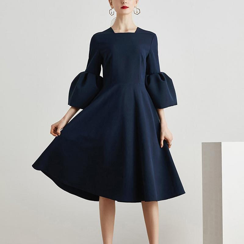 Blue Flare Sleeve Square Collar Tunic High Waist Draped Midi Dress - Midi Dress