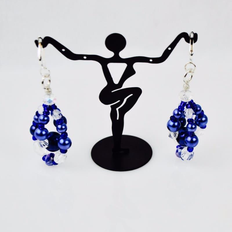 Blue Glass Pearls Crystal Chandelier Earrings - Handmade