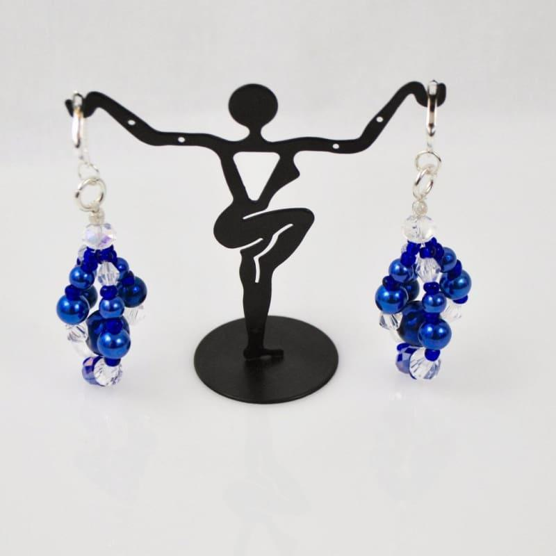 Blue Glass Pearls Crystal Chandelier Earrings - TeresaCollections