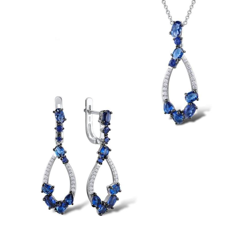 Blue Nano Cubic Zirconia Stones Earrings Pendant Necklace 925 Sterling Silver Jewelry Set - jewelry set