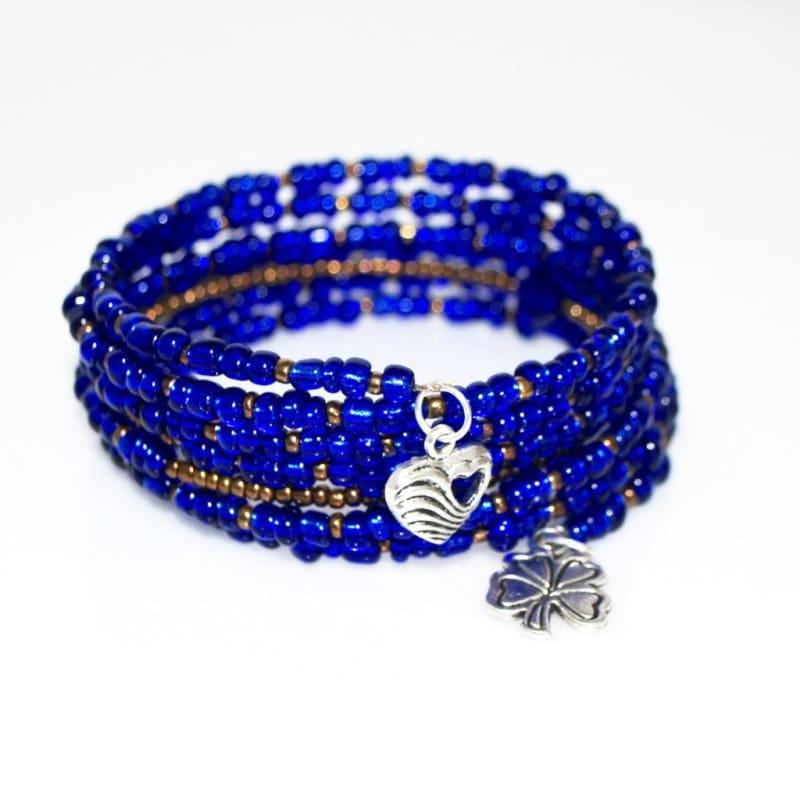 Blue Sapphire With Brown Ascent Steel Wrap Around Bracelets - Handmade