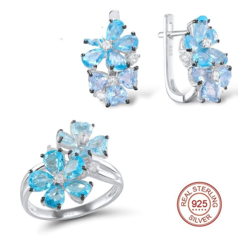Blue Stone White Cubic Zirconia Ring Earrings Pure 925 Sterling Silver Fashion Jewelry Set - 5 - jewelry set