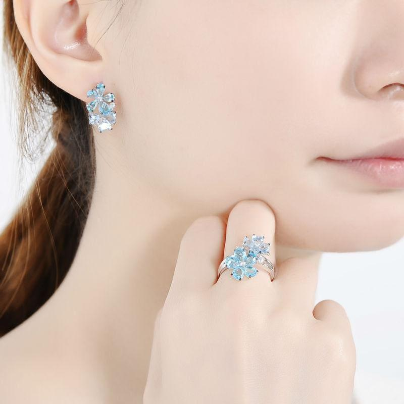Blue Stone White Cubic Zirconia Ring Earrings Pure 925 Sterling Silver Fashion Jewelry Set - jewelry set