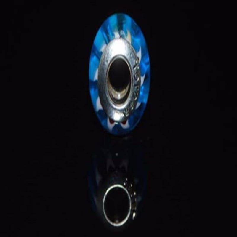 Blue Stripe Murano Glass Charm Bead - TeresaCollections