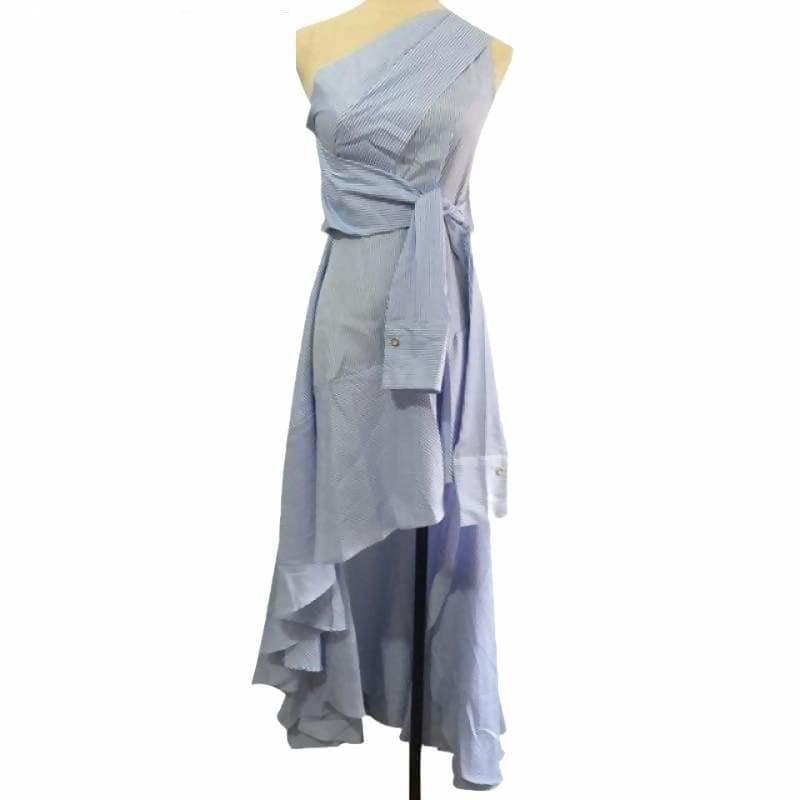 Blue Striped Belt Off Shoulder High Waist Draped Asymmetrical Spring Elegant Midi Dress - Blue / L - Midi Dress