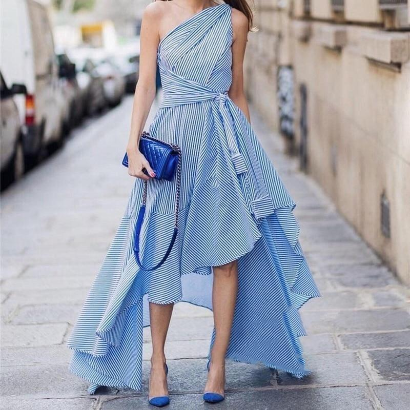 Blue Striped Belt Off Shoulder High Waist Draped Asymmetrical Spring Elegant Midi Dress - Midi Dress