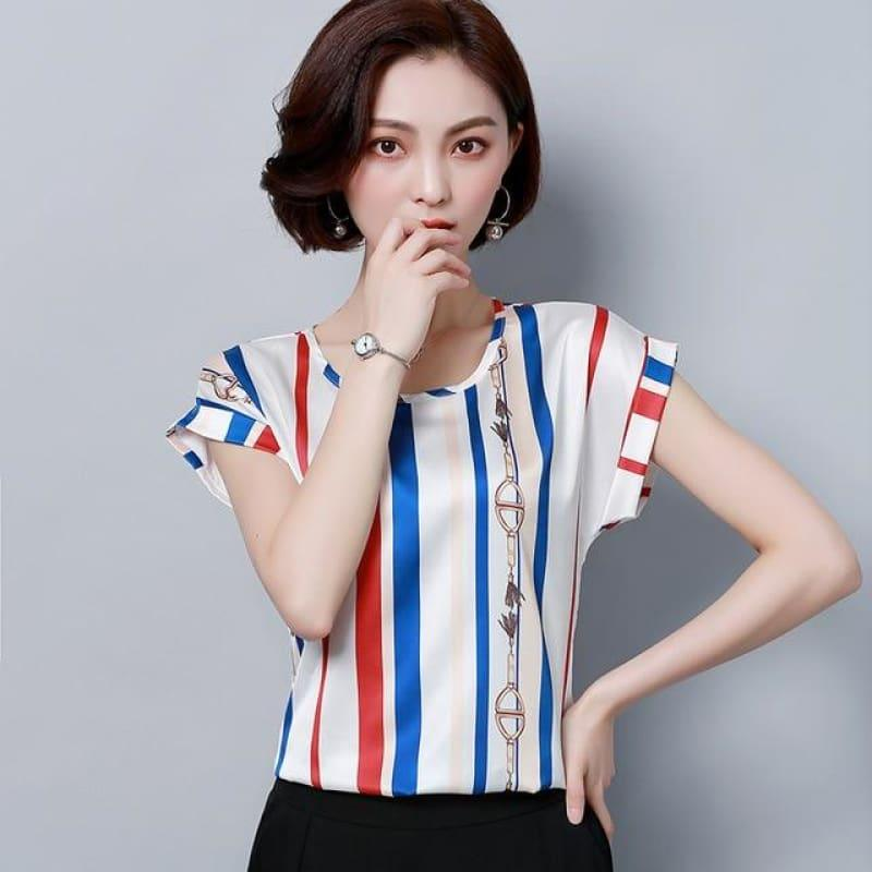Blue Stripes Summer Chiffon Loose Blouse - blue red striped / XXL - Sleeveless