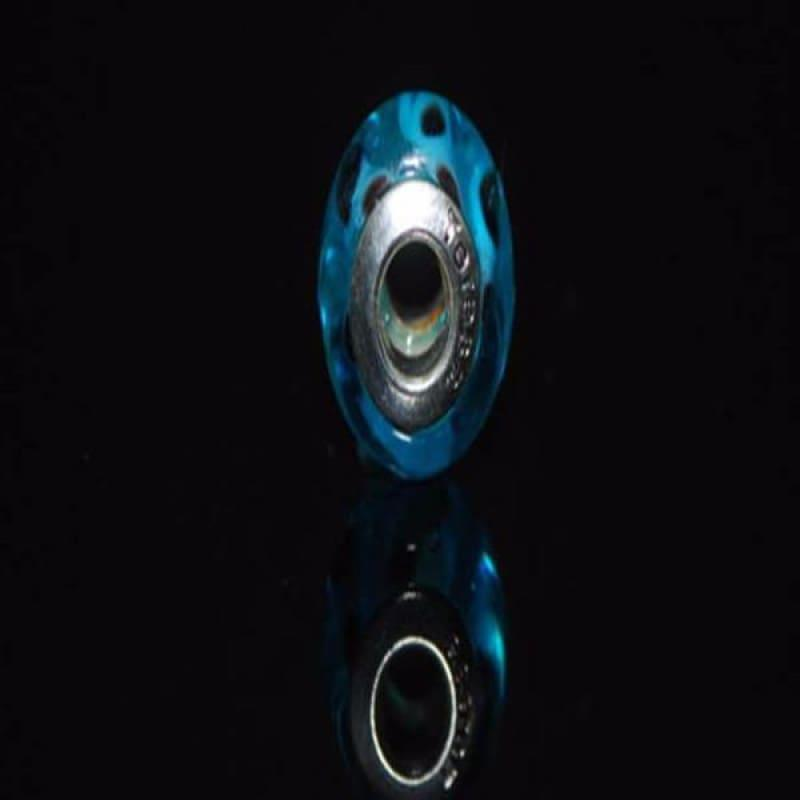 Blue Swirl with Paws Glass Charm Beads - Charm beads