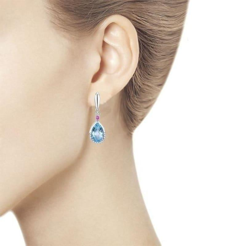 Blue Topaz Brazilian 13.5ct Genuine Gemstone Water Drop Clasp Earrings - Brazil topaz - earrings