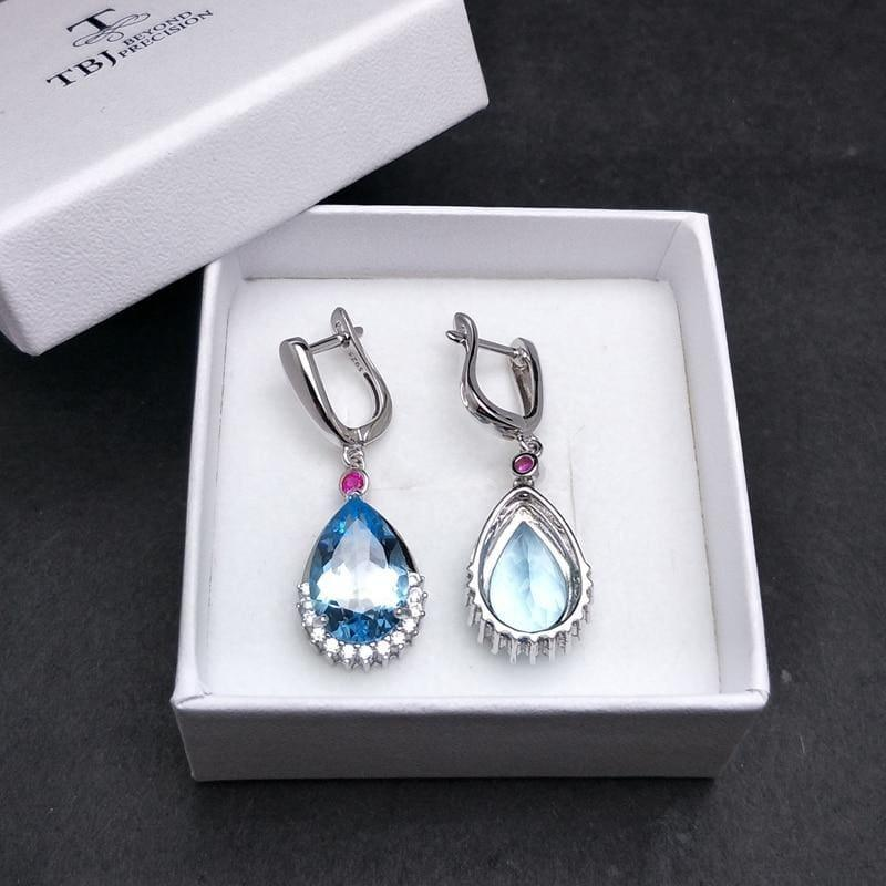 Blue Topaz Brazilian 13.5ct Genuine Gemstone Water Drop Clasp Earrings - earrings