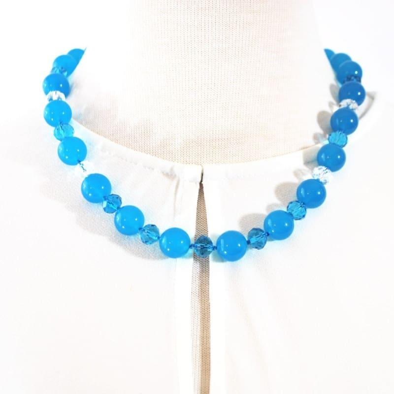Blue Topaz Gemstone With Crystal Beaded Necklace - TeresaCollections
